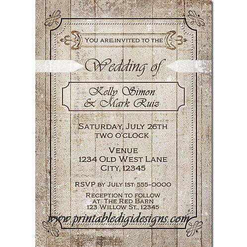 Vintage Elegant White Wood Rustic Country Wedding Invitations