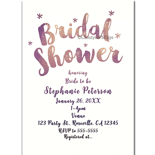 Rose Gold Bridal Shower Glam Sparkle Modern Invitations