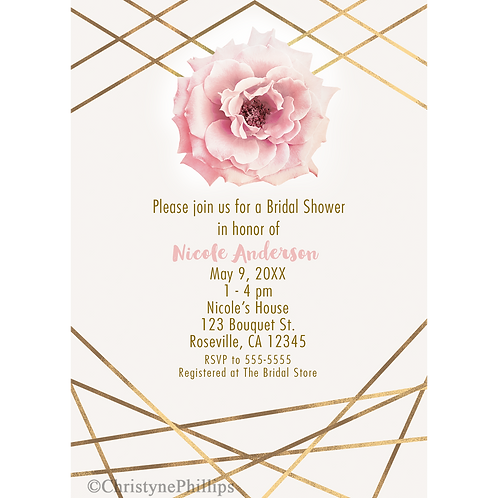 Pink Peony Flower & Gold Lines Modern Glam Brial Shower Invitations