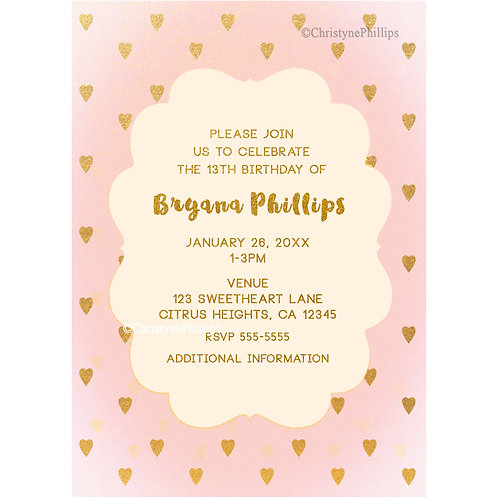 Cute Pink and Gold Hearts Personalized Birthday Party Invitations