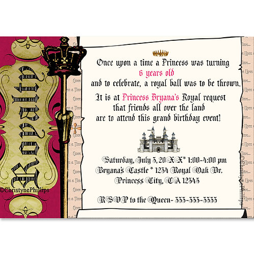 Royal Storybook Princess Birthday Party Invitation