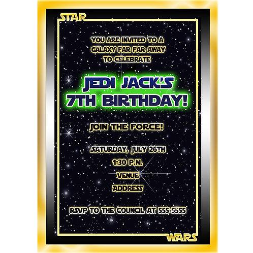 Star Wars Inspired Birthday Party Custom Personalized Invitation