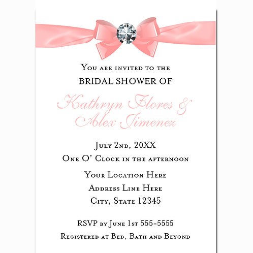 White and Peach Bow with Diamond Chic Glam Bridal Shower Invitations