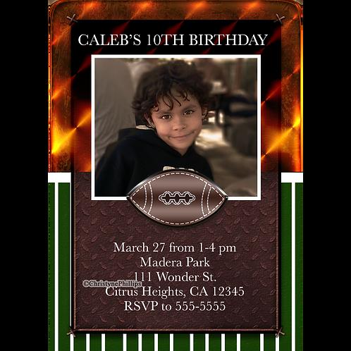 Boys Football Custom Photo Birthday Party Invitations