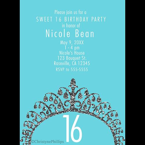 Silver Glitter Princess Glam Tiara Crown Chic Party Invitations