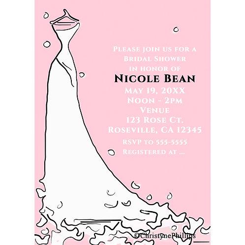 Modern Bridal Shower Dress on Hanger Pink & Black Chic Invitations