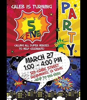Comic Book Style Pop Art Retro Birthday Party Invitations