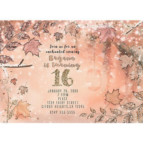 Glitter Fall Wintery Rose Gold and Maple Leaves Party Invitations
