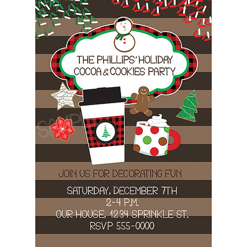 Cocoa and Cookies Christmas Party Sprinkles Holiday Invitations