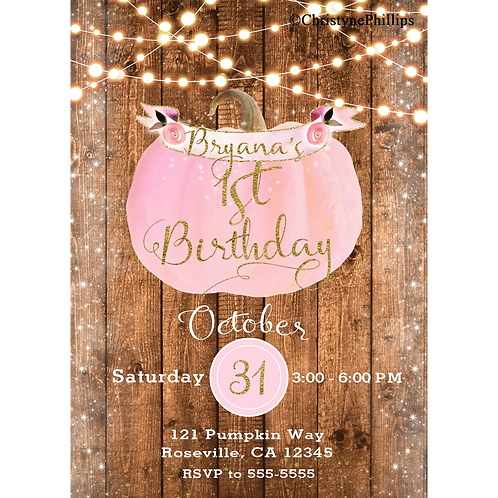 Pink Pumpkin Sparkles Rustic Fall 1st Birthday Party Invitations