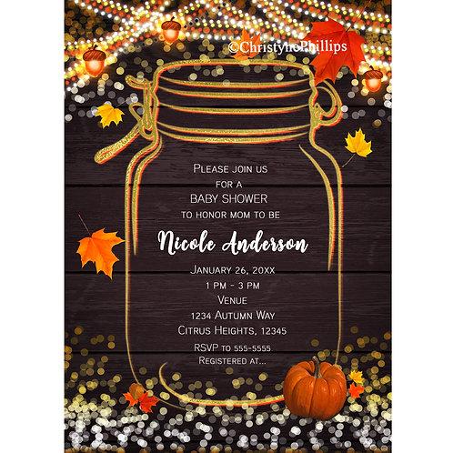 Autumn Pumpkin and String Lights Mason Jar Rustic Invitations