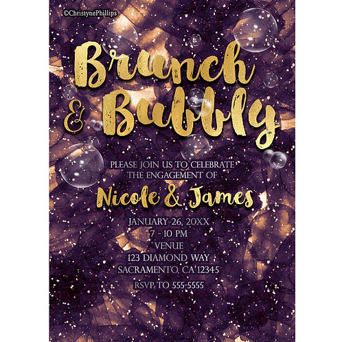Brunch and Bubbly Purple Gold Glam Chic Engagement Party Invitations