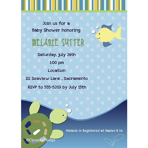 Sea Turtle Ocean Reef Beach Baby Shower 1st Birthday Party Invitations
