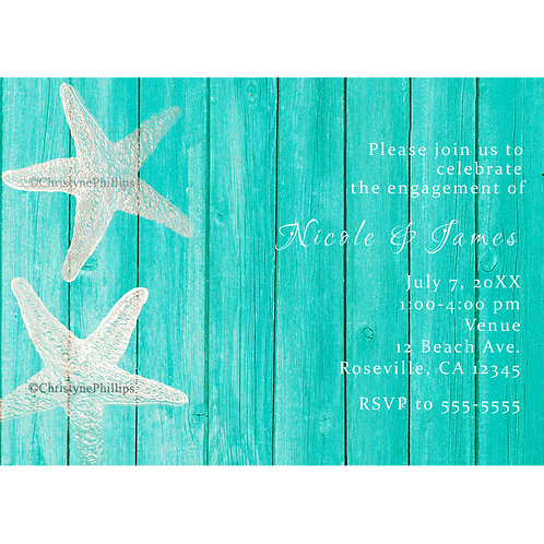 Teal Wood & Starfish Elegant Beach Party Invitations