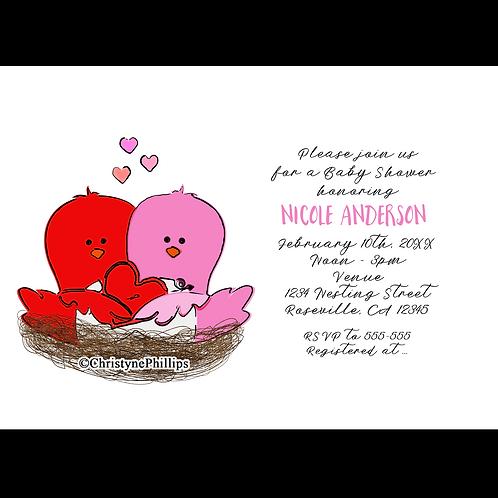 Valentine's Day Love Birds Bridal or Baby Shower Invitations
