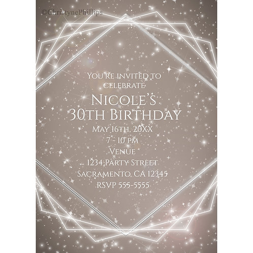Elegant Sparkle Geometric Glam Birthday Party Invitations