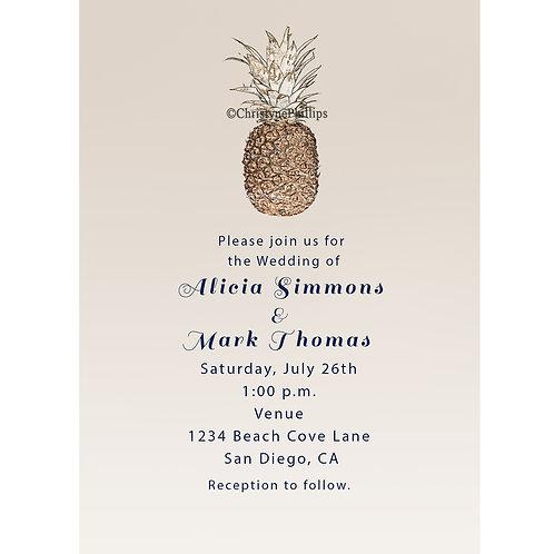 Vintage Pineapple Elegant Tropical Simple Beige Beach Wedding Invitations