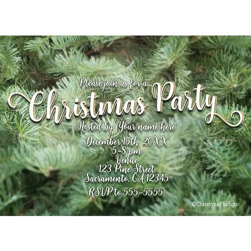Green Christmas Tree Pine Rustic Retro Holiday Party Invitations