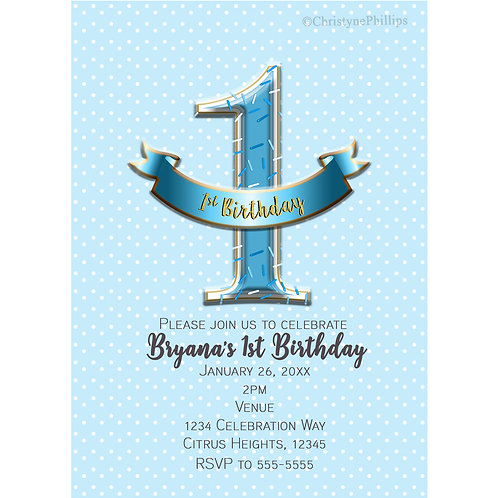 Blue One 1st Boys Birthday Sprinkles and Polka Dots Party Invitations