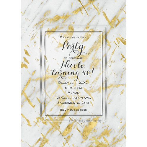Marble Gold & White Glam Chic Elegant Party Invitations