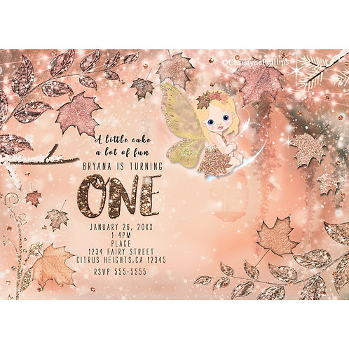 Glitter Fairy Fall Wintery Rose Gold and Maple Leaves Party Invitations