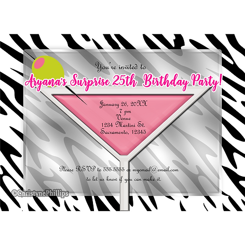 Pink Martini with Green Olive Zebra Print Chic Birthday Party Invitations