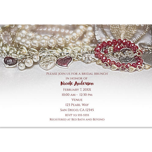 Pearls and Red Love Valentine Jewels Bridal Shower Brunch Invitations