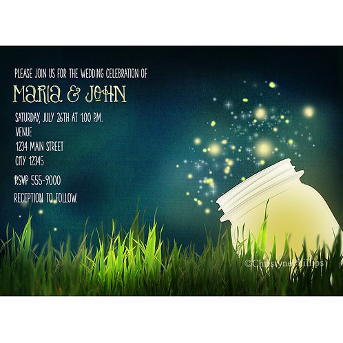 Lighted Mason Jar and Fireflies Rustic Country Night Invitations