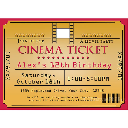 Cinema Gold Movie Ticket Birthday Party Invitation