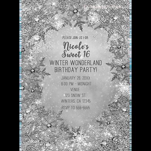 Winter Wonderland Glitter & Snowflakes Elegant Pure Silver Invitati