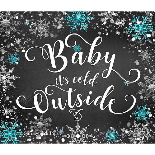 Baby it's Cold Outside Winter Wonderland Chalk Teal & Purple Party Sign