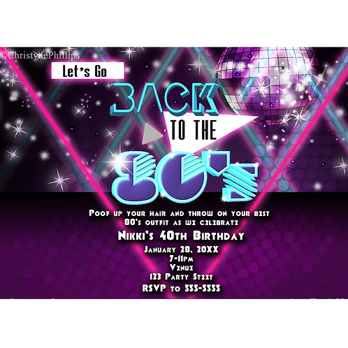 Back to the 80's Purple Glam Dance Birthday Party Invitations