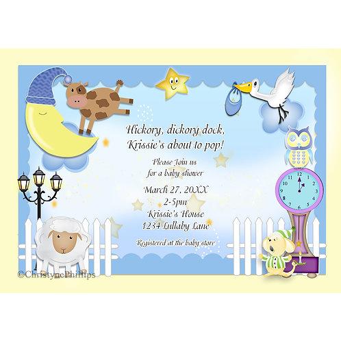 Luallaby Nursery Rhyme Baby Shower Invitations