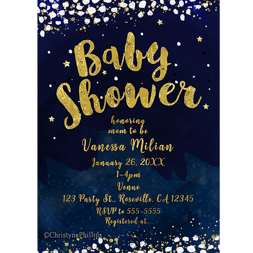 Baby Shower Blue and Gold Whimsical Starry Night Celestial Invitations
