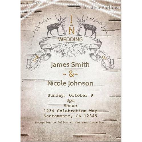 Rustic Deer & Branches Birch Wedding Invitations