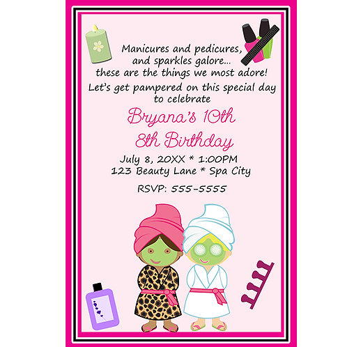Two Girls Beauty Salon Spa Personalized Birthday Party Invitations