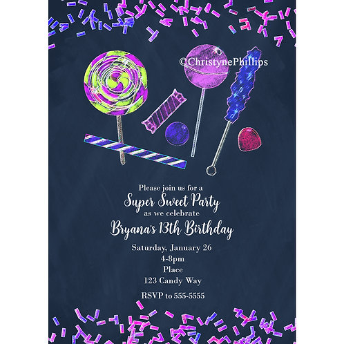 Glow in the Dark Neon Look Candy land Party Invitations