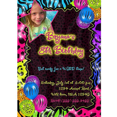 Neon Leopard Zebra Print with Balloons Birthday Party Invitations