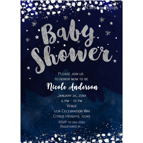baby shower blue silver whimcical starry night celestial invitations