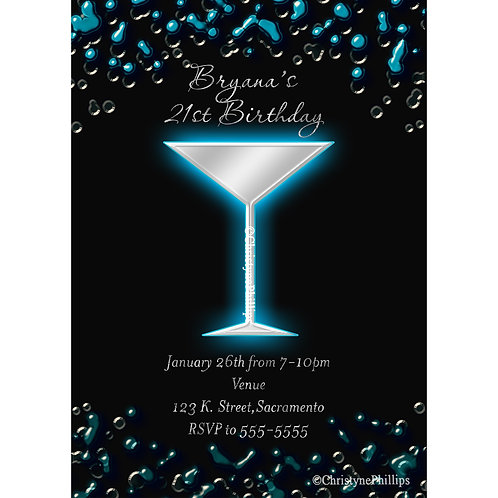 Blue Electric Cocktail Martini Drink 21st Girls Birthday Party Invitations
