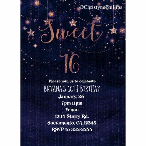 hanging stars purple gold celestial night sweet 16 party invitations