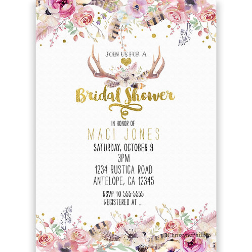 Bridal Shower Rustic Flowers & Deer Antlers Invitations