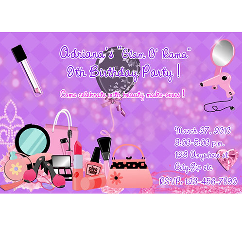 Girls Purple Glamour Makeup Birthday Party Invitations