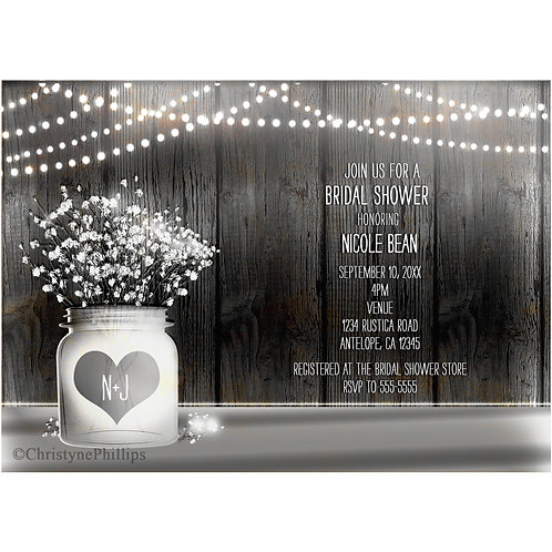 Heart Mason Jar and Baby's Breath Rustic Wood Invitations