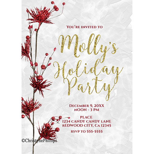 Red Floral Berries Christmas Rustic Modern Glam Holiday Party Invitations