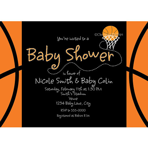 Baby Shower Basketball Sports Personalized Invitations