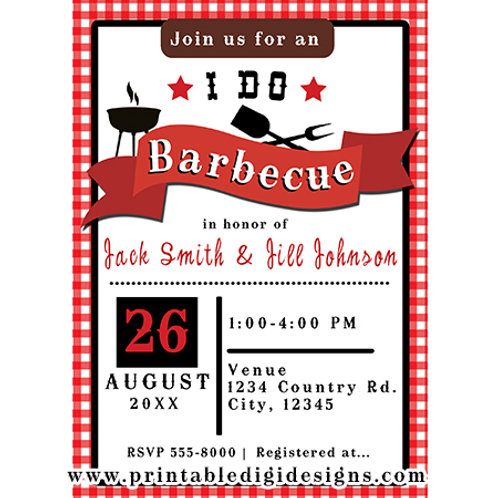 I do Barbeque BBQ Red Gingham Rustic Country Engagement Party Invitations