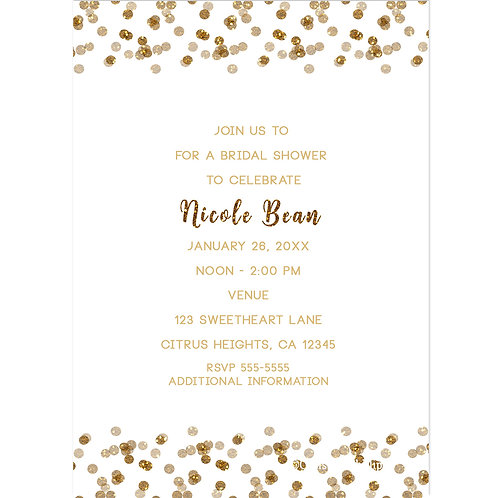 White and Gold Confetti Dots Modern Glam Party Invitations