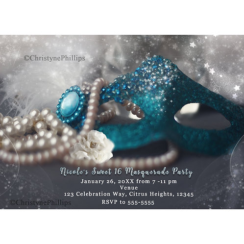 Winter Masquerade Mask & Pearls Costume Party Invitations