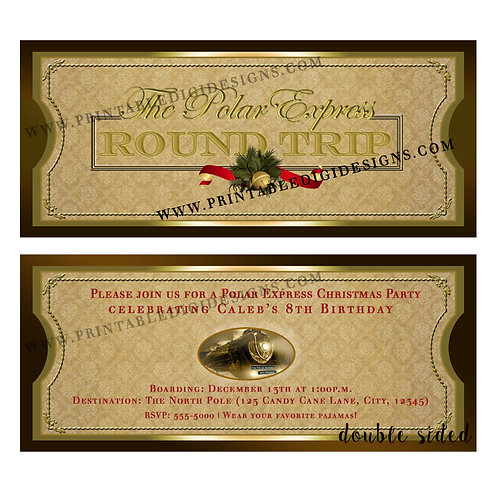 Polar Express Christmas Train Ticket Digital Invitations-Double Sided
